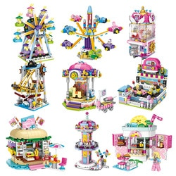 Loz mini blocos amigos parque de diversões roda gigante carrossel navio pirata navio pirata blocos de construção diy tijolos brinquedos para meninas Blocos de empilhar    -