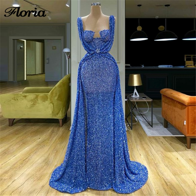 Sheer Dubai Diamond Evening Dress 2020 Customize Luxury Arabic Chic Formal Party Gowns Prom Dresses
