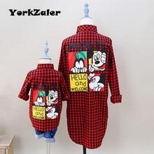 YorkZaler-vêtements de famille assortis   Chemise rouge, tenue de famille, pour mère fille et fils, automne