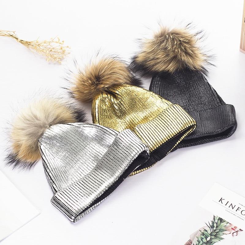 Women Golden Real Removable pom pom Knitted Beanies Winter Caps Gilding Sliver Hip hop metalic Knitt