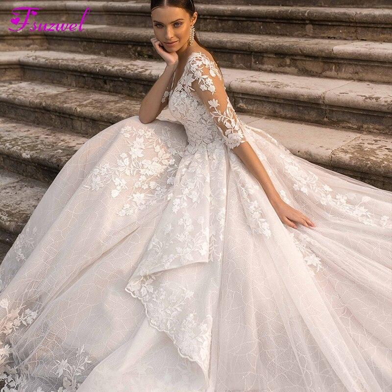 Fsuzwel preciosos apliques de novia corte tren vestido de novia de encaje de 2020 encantador cuello media manga princesa vestido de novia