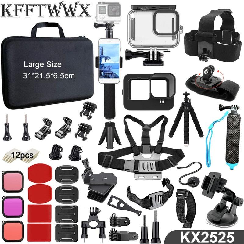 KFFTWWX for Gopro Hero 9 Accessories Kit Waterproof Housing Case Straps Tripod Monopod Set Mount for Go Pro 9 Black Accessory