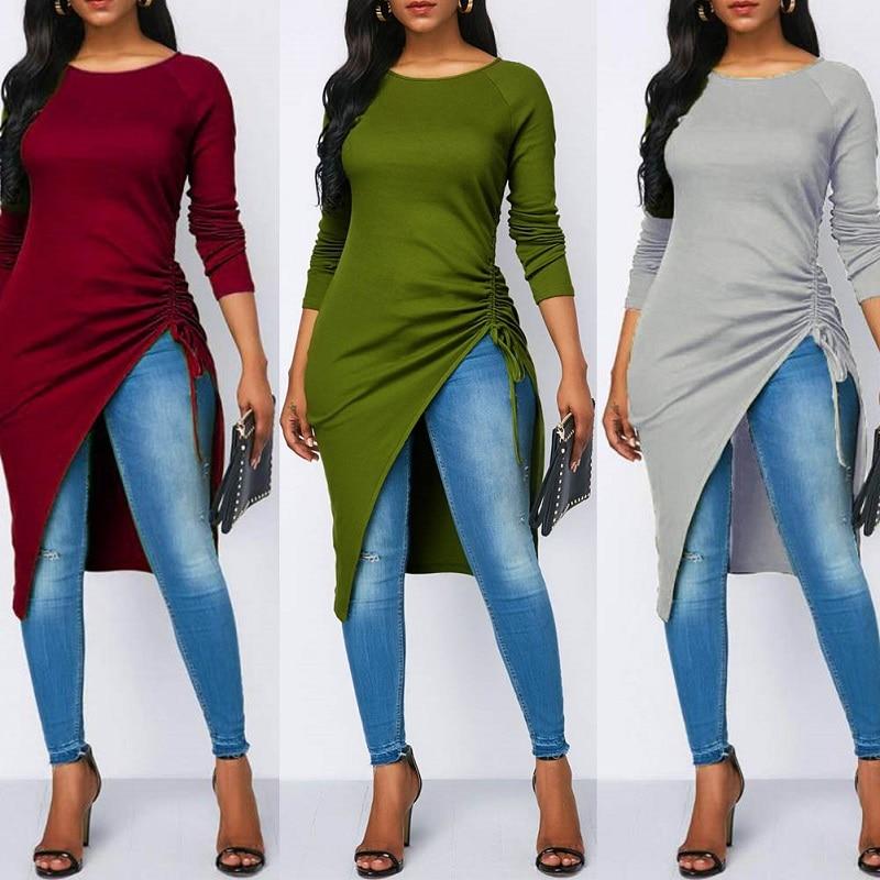 Women Asymmetrical Blouse Sexy Split Hem Striped Party Tops Long Ladies Office Shirts Summer Tunic Plus Size