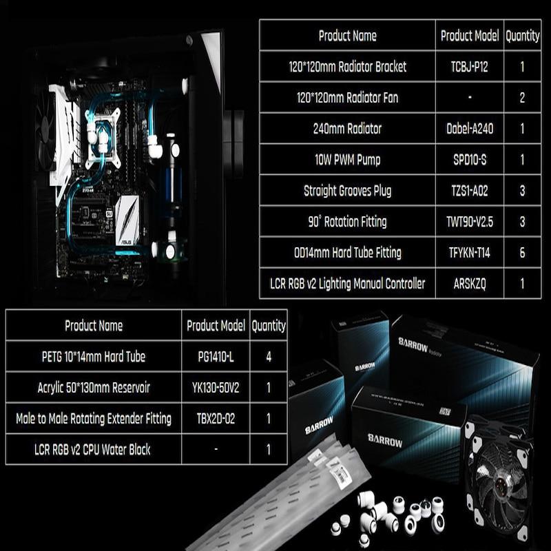Barrow YR01, Hardtube CPU Water Cooling Kits, 240mm Radiator, CPU Block, 130mm Reservoir for CPU cooling AM3 / AM4 / 115X / 2011