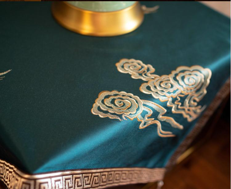 Custom Tassel Embroidery Joyous Square Dust Cover Luxury Silk Satin Bedside table Cover cloth Living room Small Tablecloth enlarge
