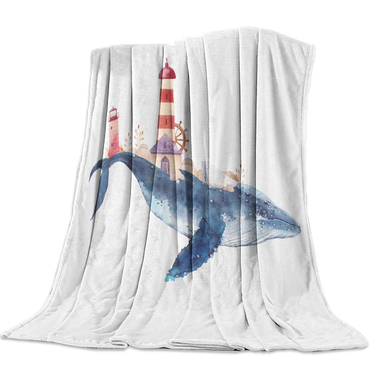 Manta ballena acuarelas faro arte Animal estilo Retro fantasía franela manta suave manta sofá cama viaje