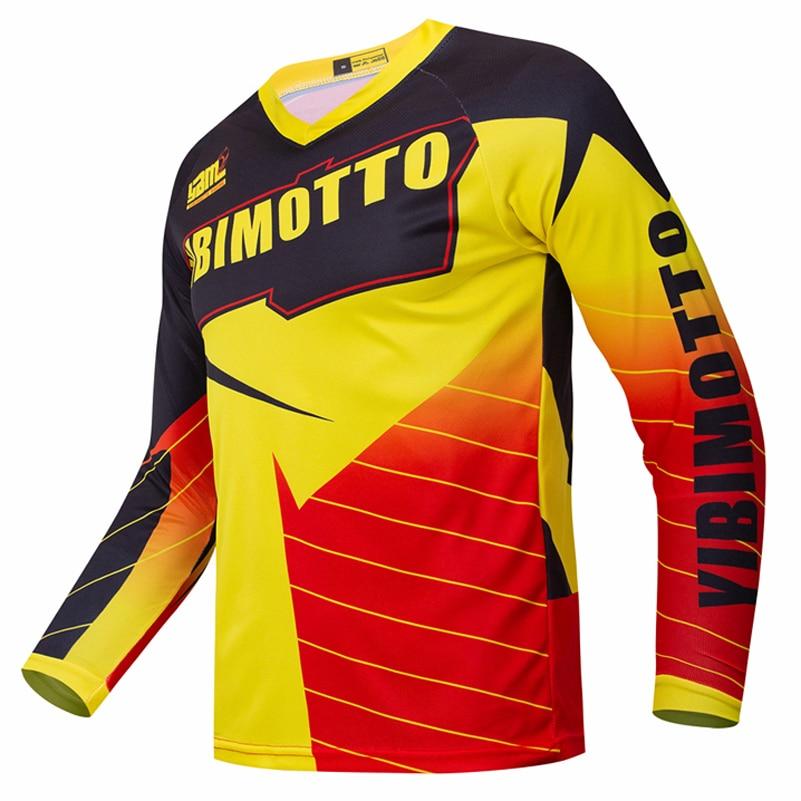 Gelb polyester Enduro Motocross MX DH Jersey Downhill Mountain Bike MTB T-shirt Lange Motorrad Kleidung Ropa Für Männer