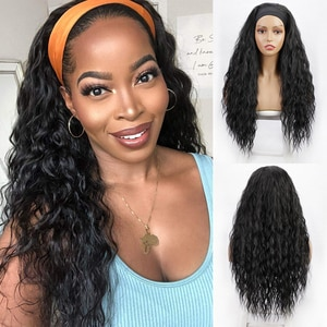 Long Water Wave Headband Wig Synthetic Curls Wigs for Black Women Grip Headband Scarf Headwraps Hair Wig None Replacement