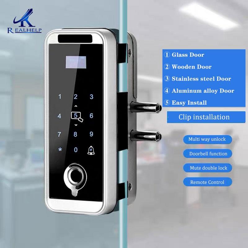 المواد المعدنية قفل RF بطاقة البيومترية باب زجاجي مكتب التحكم عن بعد كلمة السر بصمة قفل باب زجاجي البيومترية