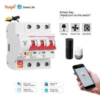 Disjoncteur WiFi 3P Tuya  protection contre les courts-circuits de surcharge  compatible avec Alexa et google home pour maison intelligente