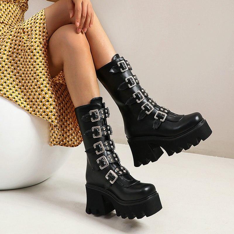 الشتاء شيطان أحذية منصة القوطية الشرير الظلام القوطي لوليتا خادمة أحذية مضخات أسافين ماري جين أحذية منتصف العجل حذاء عسكري