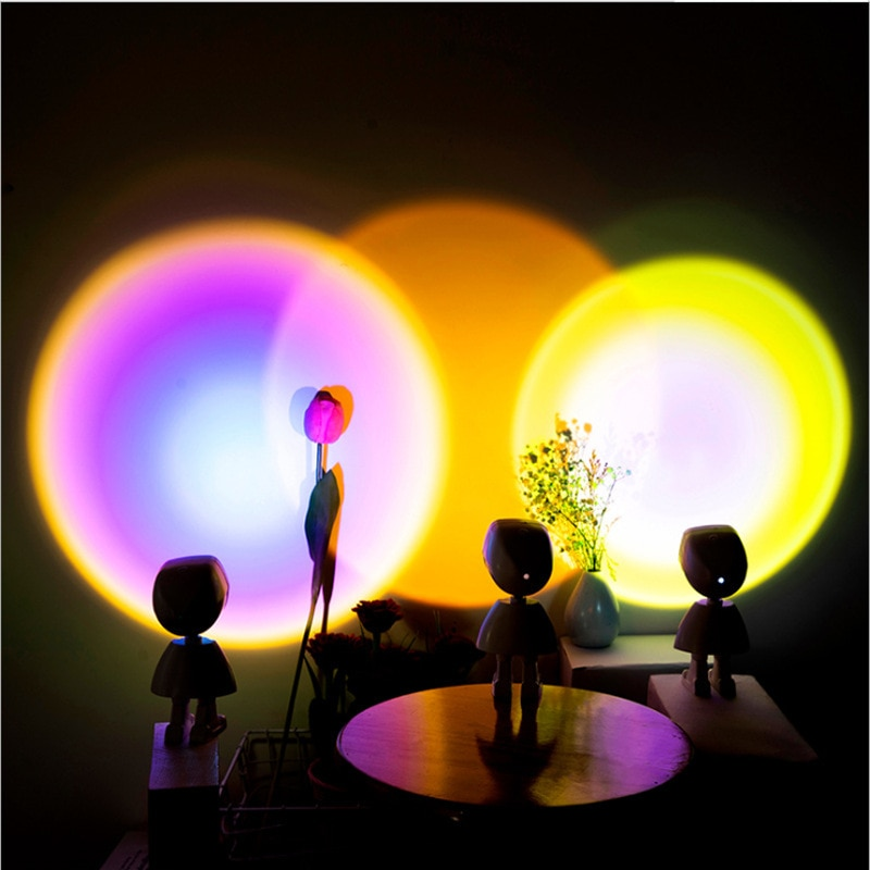 USB LED Robot Design Projector Atmosphere Night Light Touch Control Photography Home Room Wall Decoration Projection Table Lamps