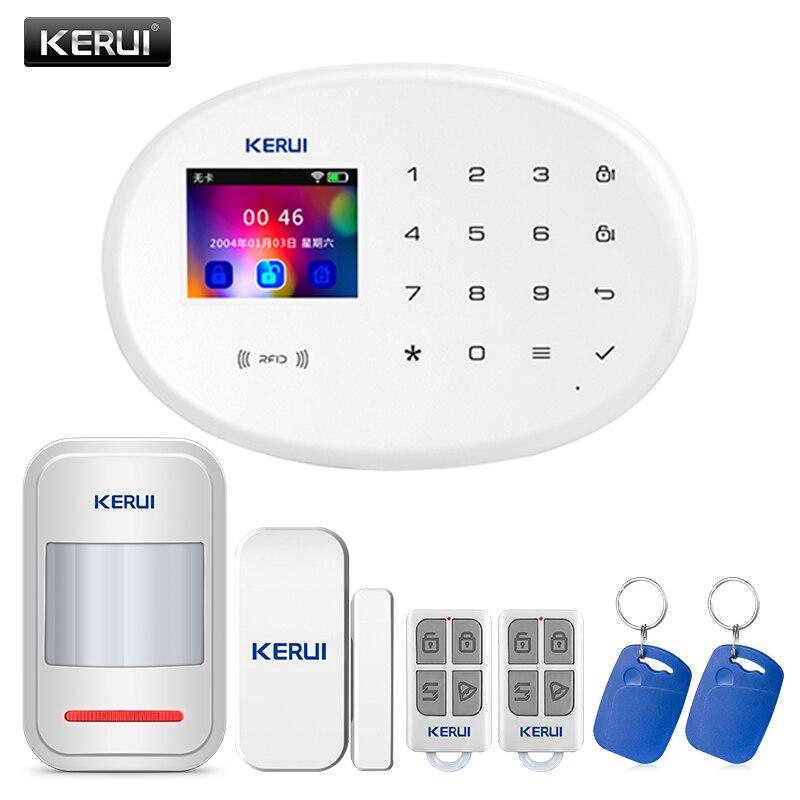 KERUI W20 GSM850/900/1800/1900 MHz sistema de alarma de seguridad para el hogar inalámbrico suite APP control con sistema de alarma antirrobo de humo