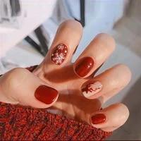 24pcs christmas red wine false nails snowflake cute fake nail press on nail tips with glue manicure nail art tools