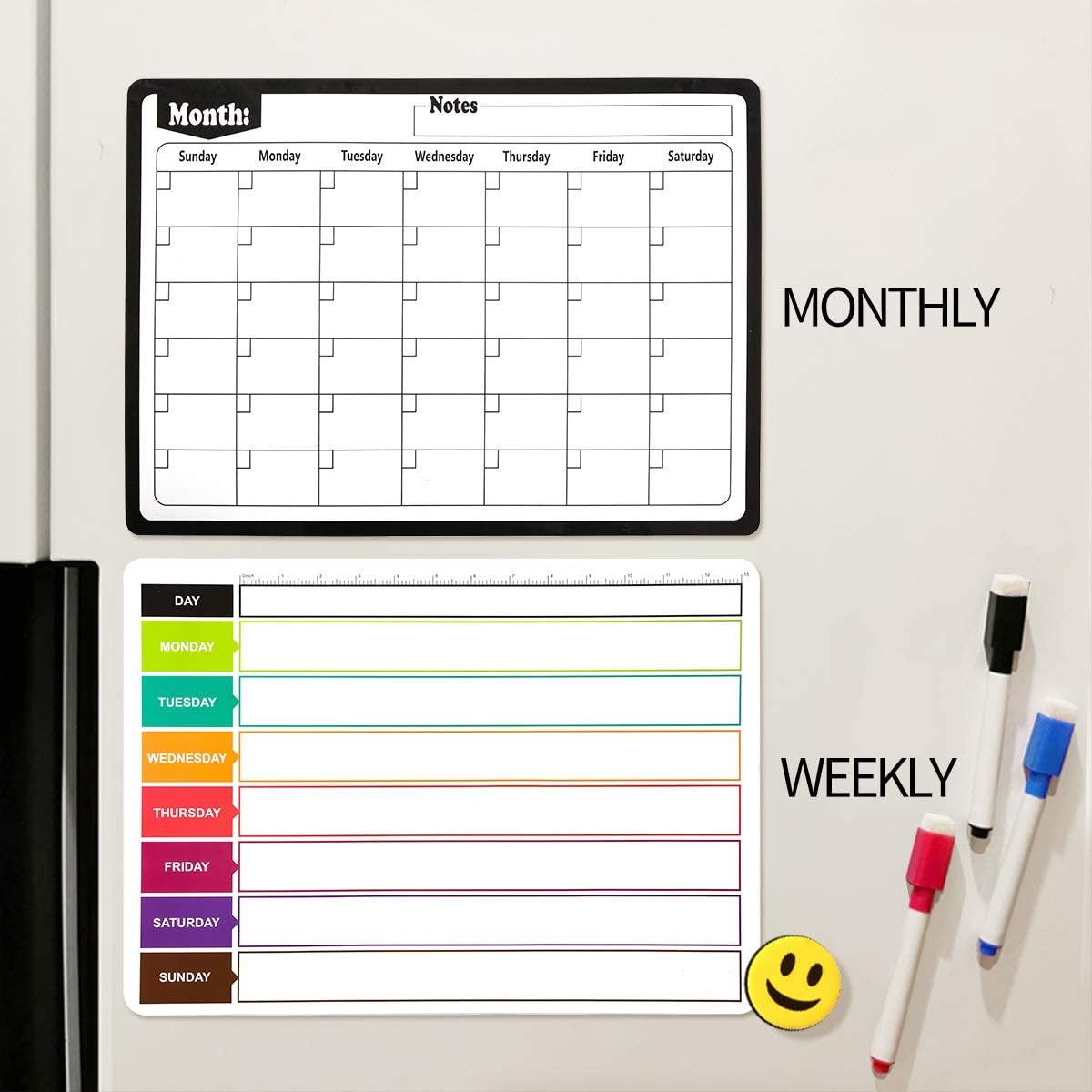 Magnetic Dry-Erase White Board Sheet for Fridge Refrigerator Whiteboard Planner Month Organizer Magnetic Monthly Calendar Board