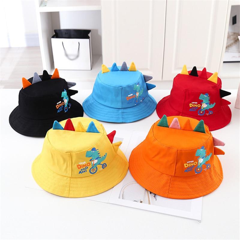 2021 Fashion Sun Protection Baby Bucket Hat Spring Summer Outdoor Hip Hop Cap Cute Dinosaur Kids Fisherman Hat Free Shipping