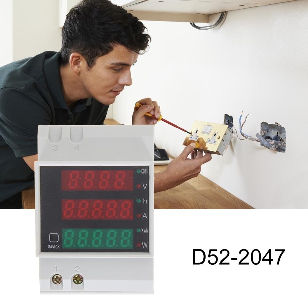 D52-2047 din-рейку Амперметр Вольтметр активный Мощность фактор время энергии Напряжение Тесты легко переносной легкий гаджеты