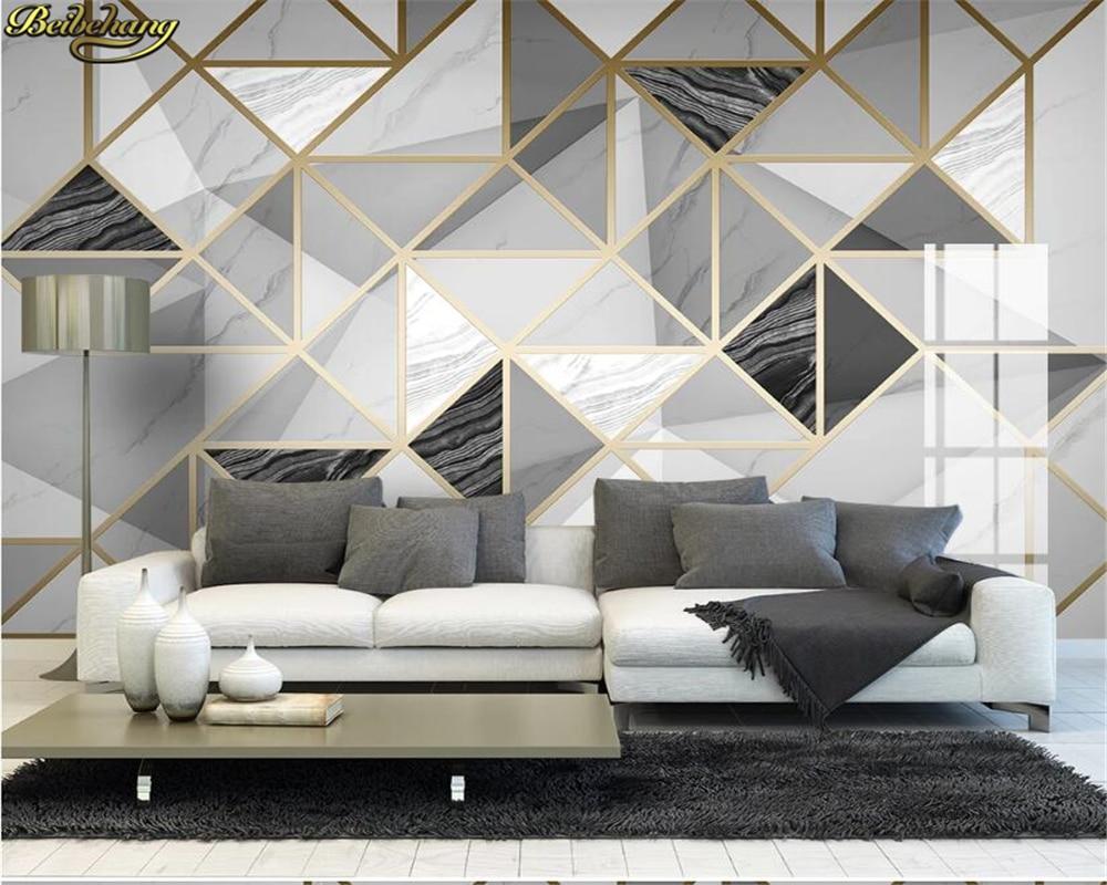 beibehang Custom wallpaper light luxury geometric marble jazz white modern minimalist background wall painting papel de parede