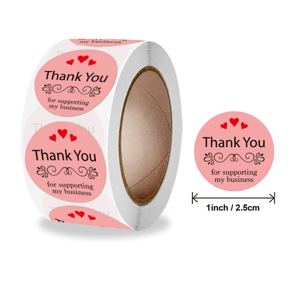 1 Inch Thank You Adhesive Stickers with Love Wedding Party Favors Envelope Mailing Supply Packaging Sealing Stationery Sticker
