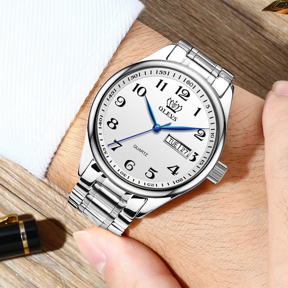 Relojes de pulsera de cuarzo inoxidable resistentes al agua para hombre, relojes luminosos