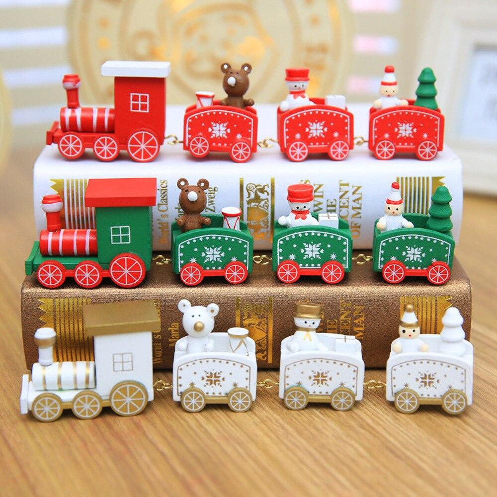 Tren de Navidad 4 nudos decoración de Navidad pintada para el hogar de madera con Santa niños juguetes ornamento Navidad 2019 regalo de Año Nuevo, Q