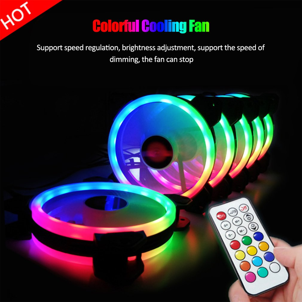 3-pack LED Cooling Fan RGB 120mm 12V Remote Control for Computer Case PC CPU 4PIN RGB Support ID-COOLING 4 Lines colorful fan