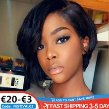 Human Hair Wigs Short Pixie Cut Wigs Straight Wig Bob Wigs With Bangs Full Machine Made Wigs For Bla