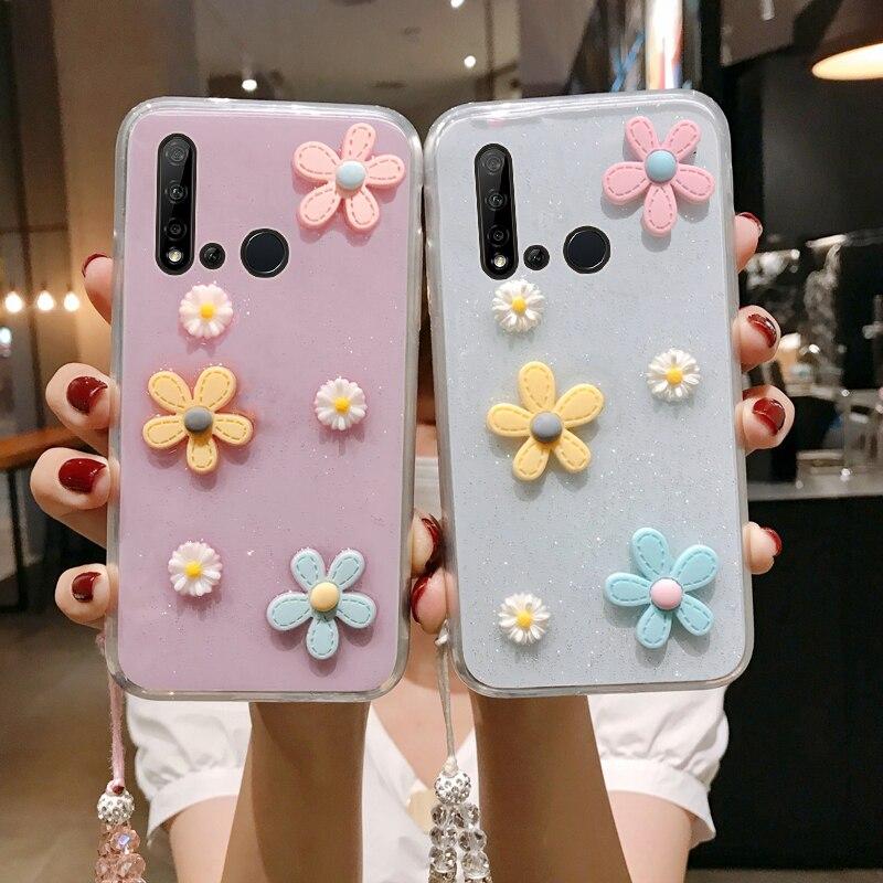 P20 lite 2019 3d bloemen glitter caso de telefone para huawei nova 5i transparente bling macio tpu capa traseira