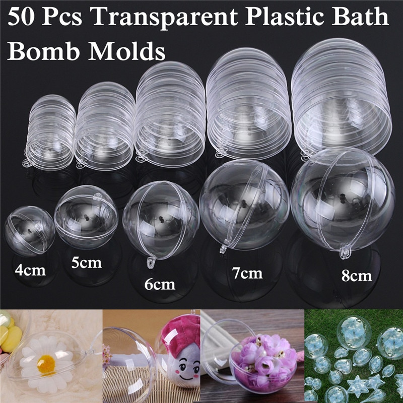 50PCS/Set 40/50/60/70/80mm Clear Round Bath Bomb Mold Ball Sphere Plastic Fillable Bath Bomb Mold Mould Plastic DIY Bathing Tool