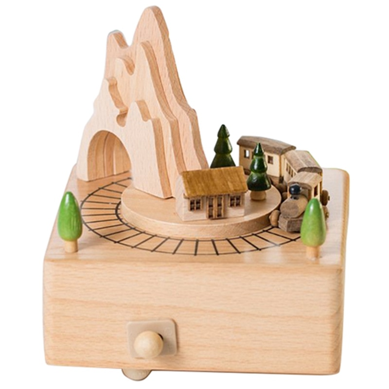 Wooden Musical Box Featuring Mountain Tunnel With Small Moving netic Train | Plays