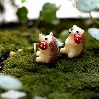 Artisanat herisson prendre champignons animaux MiniGarden   Joli artisanat  Micro paysage  decor de maison  vente en gros