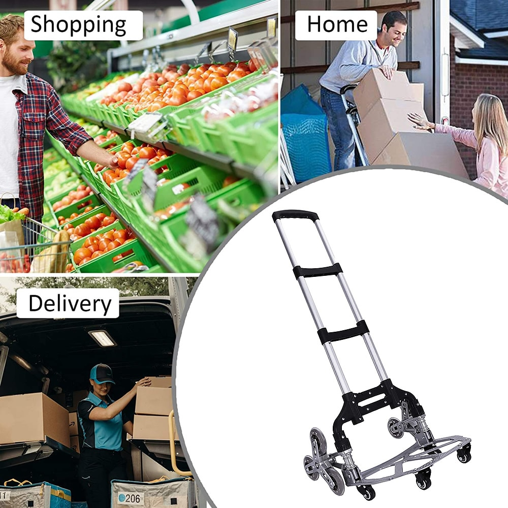 150kg Heavy Duty Foldable 10 Wheel Trolley Folding Truck Barrow Cart Travel Luggage Shopping Cart Portable Home Use Climb Stairs enlarge