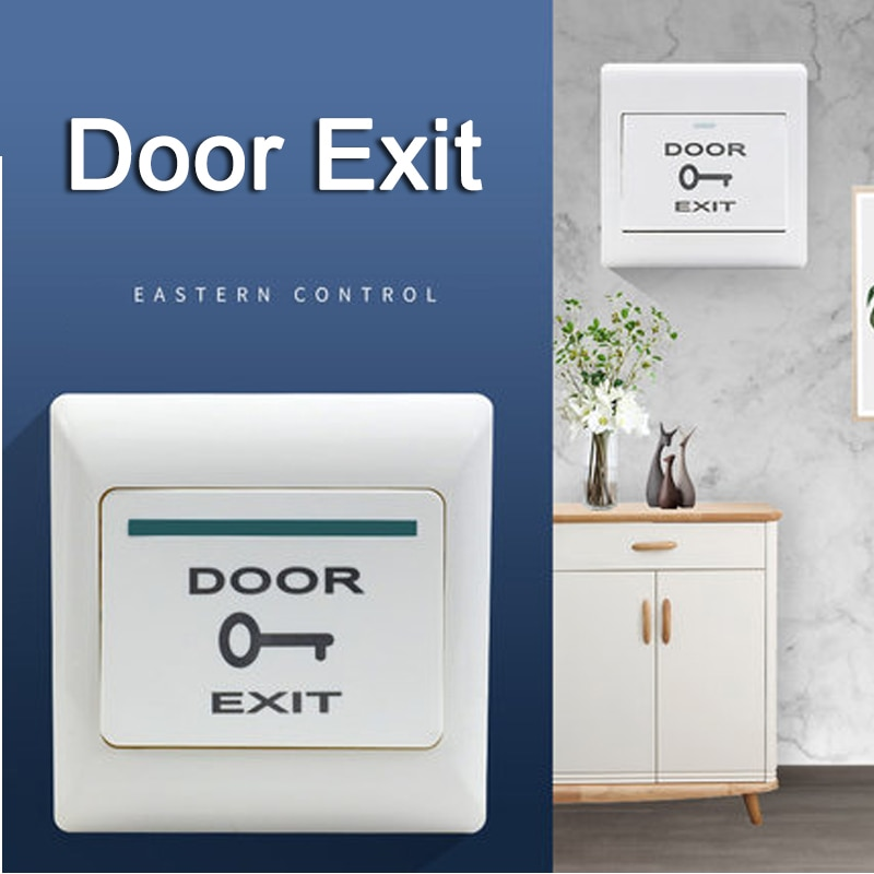 NO/NC/COM Narrow Exit Button Wall Mount Push Switch Door Release Exit Button Switch For Access Control System