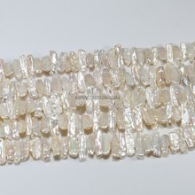 APDGG naturel 7-9mm largeur biwa irrégulier blanc perle brins perles en vrac femmes dame bijoux bricolage