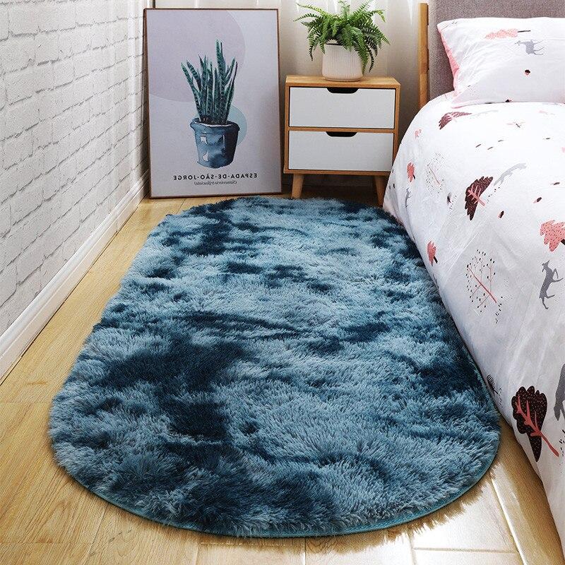 RULDGEE Elipse Oval Tie-Dye Tapete Do Quarto Cobertor Cabeceira antes de Cama Sala de estar Mesa de Chá Sofá Longo-Lã mat DUPLA COR