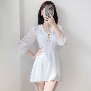 2021 New Female Swimsuit One-Piece Skirt Hollow Sexy Covering Belly Slimming Hot Spring White Swimwear Korean  Fairy Style