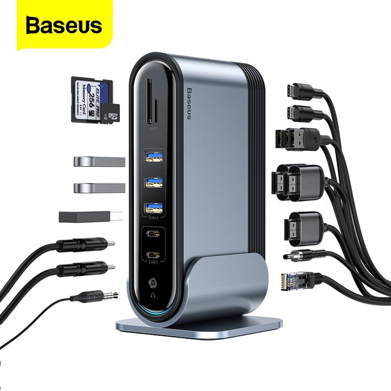 Baseus-محور USB C 17 في 1 ، محور من النوع C إلى PD RJ45 VGA HD 3 شاشات ، محول USB 3.0 2.0 ، محور MacBook Pro Type-c