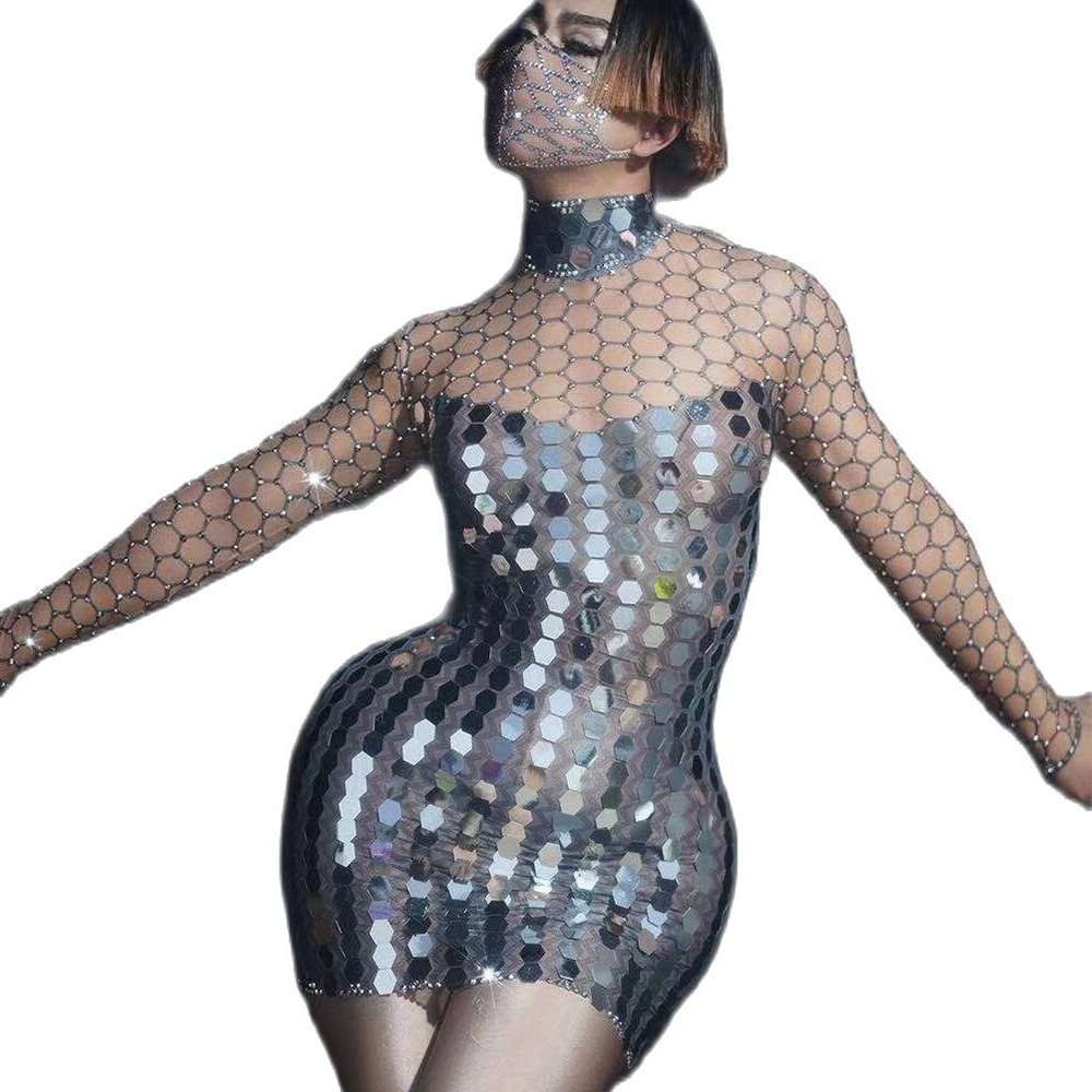 فستان قصير بياقة مدورة للنساء ، مزين بالترتر وأحجار الراين ، بأكمام طويلة ، زي ديسكو فضي لامع