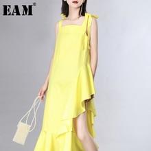 [EAM] Women Dress New Strapless Sleeveless Loose Fit Ruffles Spliced Bandage Irregular Fashion Tide Spring Summer 2020 JZ346