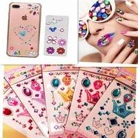 self adhesive glitter rhinestone white crystal stickers diamond gem decal phone