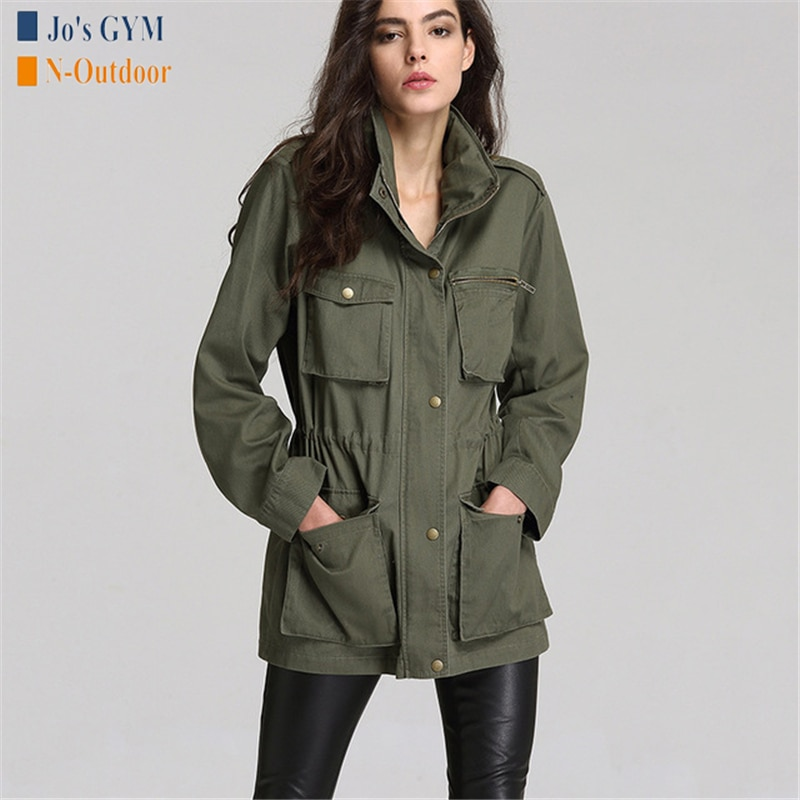 Nueva moda mujer suelta ejército verde Streetwear cuello de pie Multi-Bolsillo de manga larga prendas de vestir chaqueta deportiva Camping senderismo chaquetas