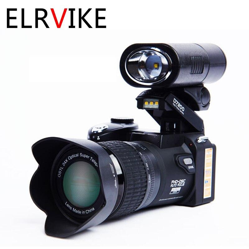 ELRVIKE 2021-كاميرا رقمية احترافية عالية الدقة POLO D7200 ، مع تركيز تلقائي 33 مليون بكسل ، كاميرا فيديو SLR ، تقريب بصري 24X ، ثلاث عدسات
