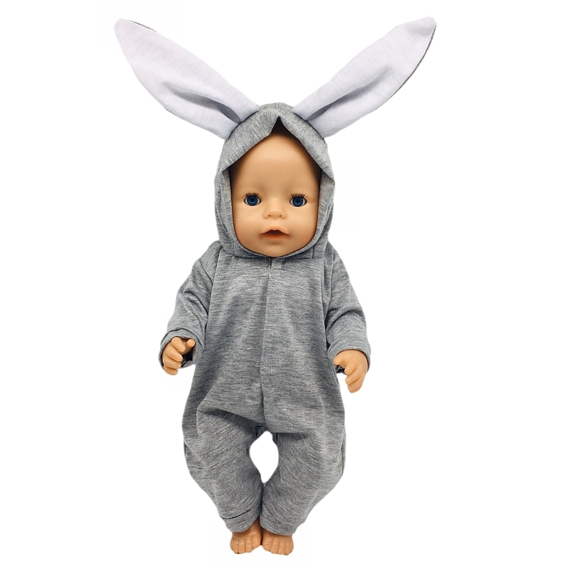 Fit 17 inch 43cm Baby New Born Doll Clothes Accessories Grey Little White Rabbit Suit For Baby Birthday Gift недорого