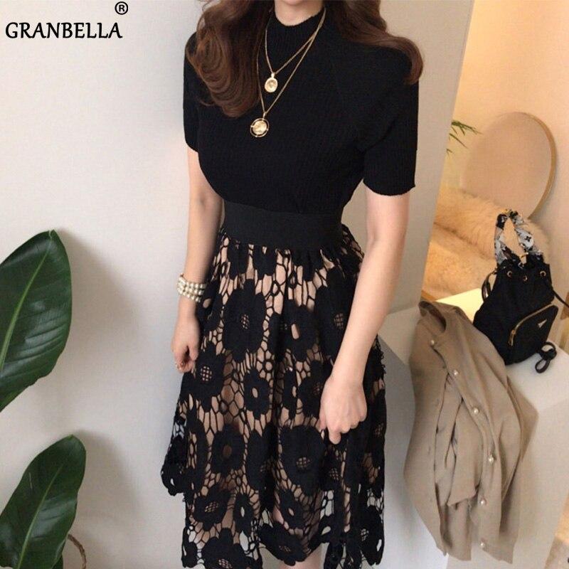 ¡DESCUENTO! Faldas Retro de encaje Delgado ahuecadas con flores para mujer moda 2020 estilo coreano Sexy para mujer elegante glamurosa Falda larga
