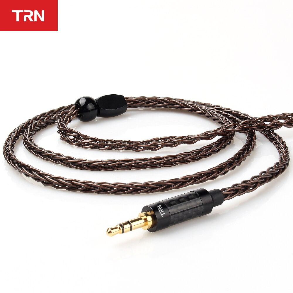Cable para auriculares TRN T4 8 Core OCC, Cable de cobre y cristal único, conector 2PIN MMCX para TRN VX V90 BA5 V80 para BL03 BQ3 T4 T2 DT6
