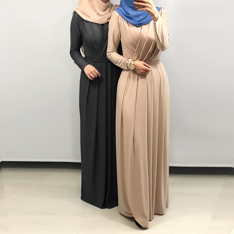 Plus Size Moda Hijab Muçulmano Vestido Abaya Dubai Africano Caftan Marocain Turco Vestidos Islam Abayas Roupas Para Mulheres Vestido