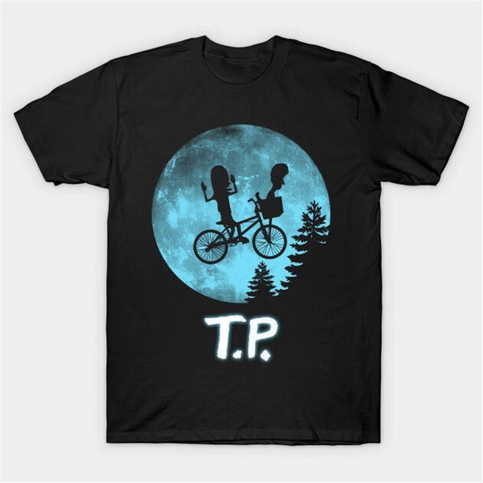 E.T parodia T.P Beavis y buthead Need T.P para Bunghole divertida camiseta negra Harajuku camiseta
