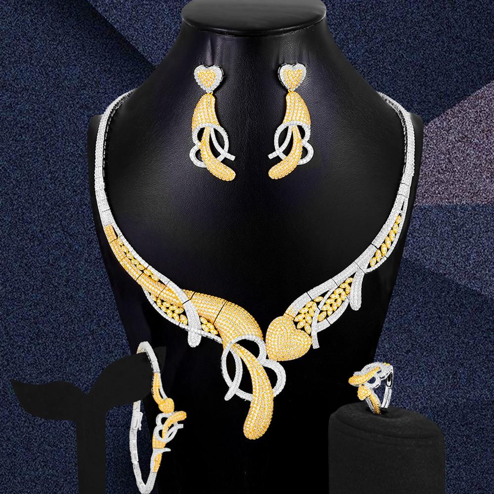 Missviki الحلو القلب لطيف قلادة الإسورة أقراط خاتم مجموعات 4 قطعة للنساء حفل زفاف تظهر الإكسسوار جودة عالية
