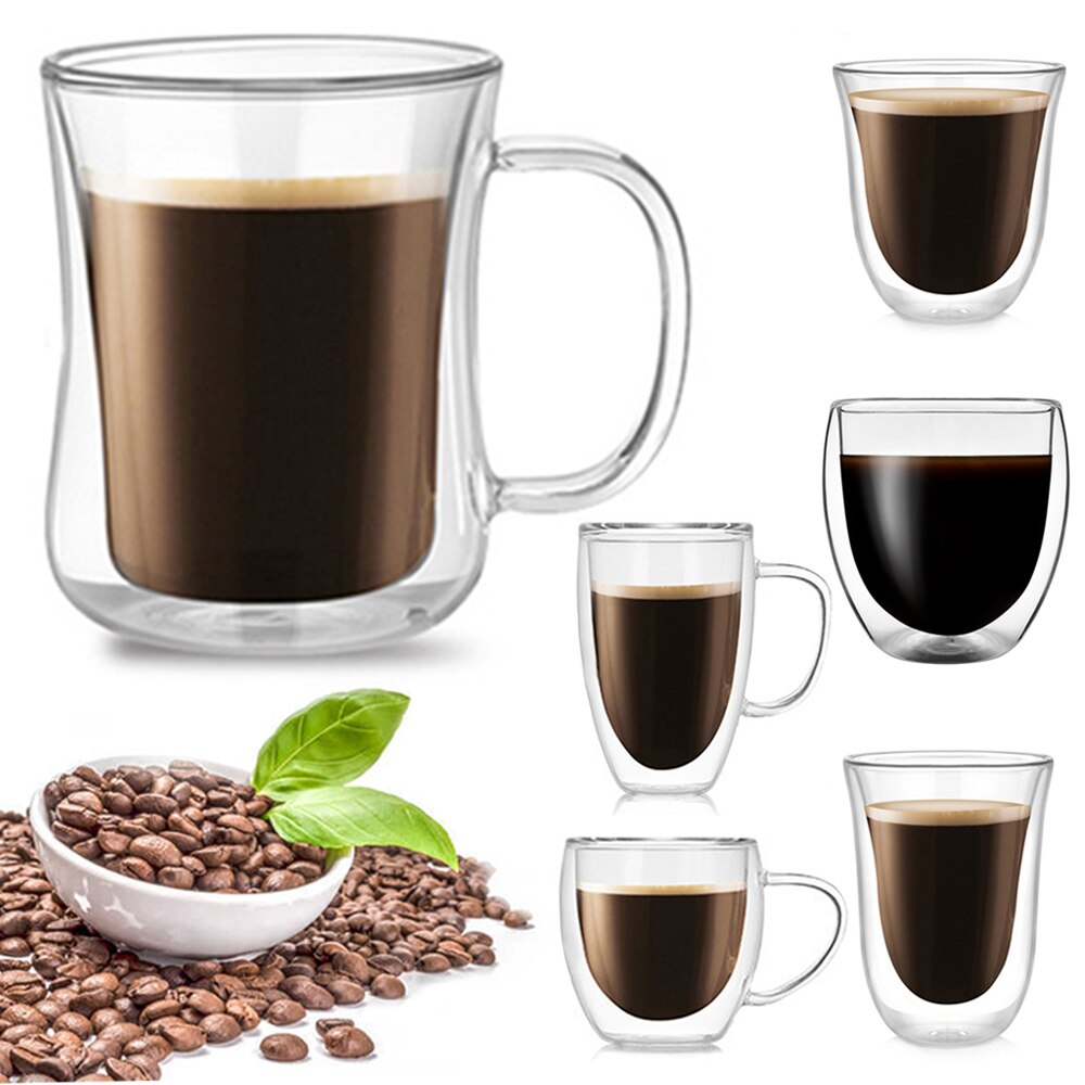 1pc Doppel Wand Glas Kaffee/Tee Tassen Und becher Bier Kaffee Cups Handgemachte Gesundes Getränk Becher Tee Becher transparent Drink