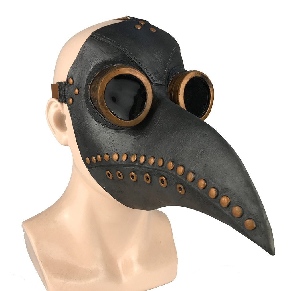 Funny Medieval Steampunk Plague Doctor Bird Mask Latex Punk Cosplay Masks Beak Adult Halloween Event